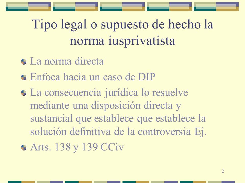 2 Tipo legal o supuesto de hecho la norma iusprivatista La norma directa Enfoca hacia un caso de DIP La consecuencia jurídica lo resuelve mediante una