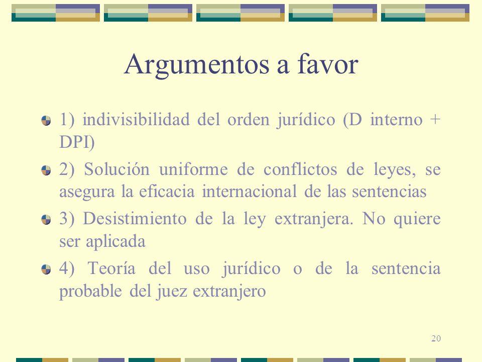 20 Argumentos a favor 1) indivisibilidad del orden jurídico (D interno + DPI) 2) Solución uniforme de conflictos de leyes, se asegura la eficacia inte