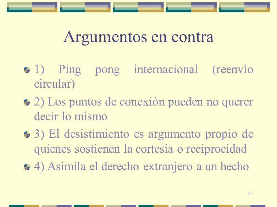 21 Argumentos en contra 1) Ping pong internacional (reenvío circular) 2) Los puntos de conexión pueden no querer decir lo mismo 3) El desistimiento es