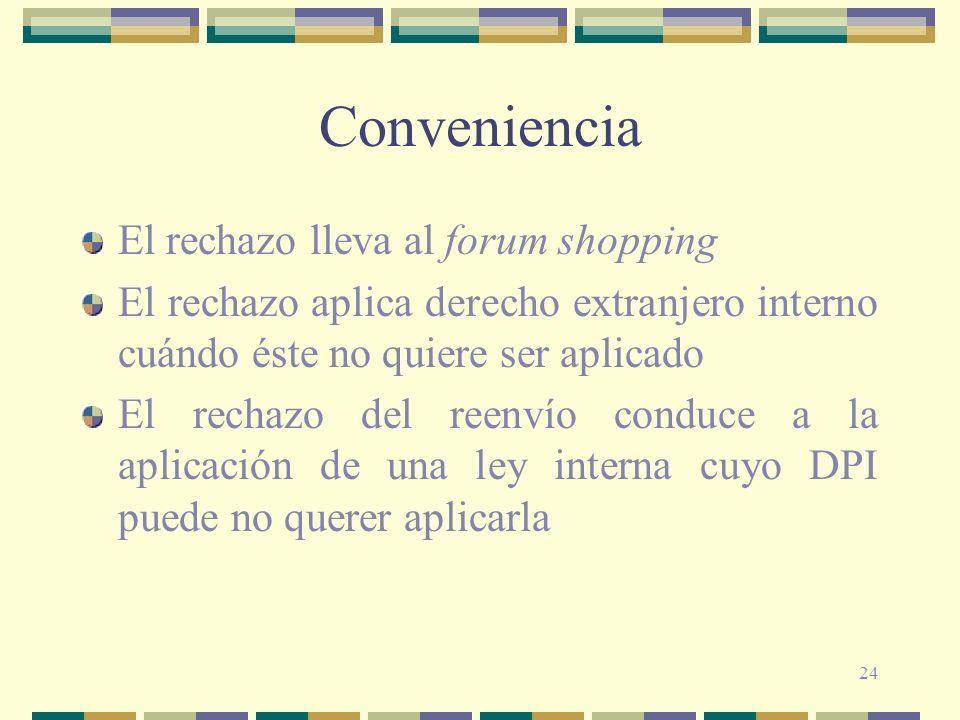 24 Conveniencia El rechazo lleva al forum shopping El rechazo aplica derecho extranjero interno cuándo éste no quiere ser aplicado El rechazo del reen