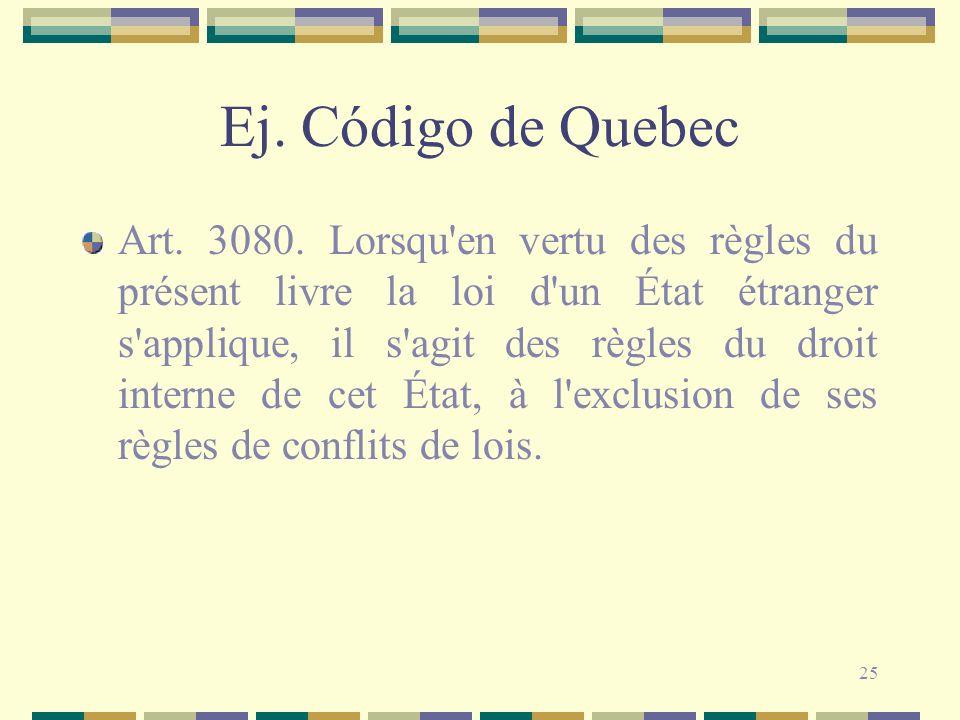 25 Ej. Código de Quebec Art. 3080. Lorsqu'en vertu des règles du présent livre la loi d'un État étranger s'applique, il s'agit des règles du droit int