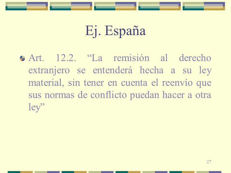 27 Ej. España Art. 12.2. La remisión al derecho extranjero se entenderá hecha a su ley material, sin tener en cuenta el reenvío que sus normas de conf