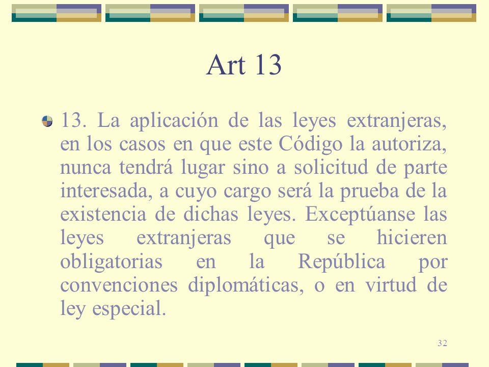 32 Art 13 13. La aplicación de las leyes extranjeras, en los casos en que este Código la autoriza, nunca tendrá lugar sino a solicitud de parte intere