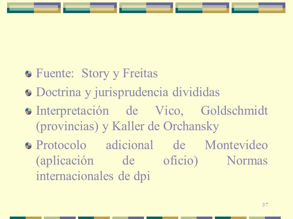37 Fuente: Story y Freitas Doctrina y jurisprudencia divididas Interpretación de Vico, Goldschmidt (provincias) y Kaller de Orchansky Protocolo adicio