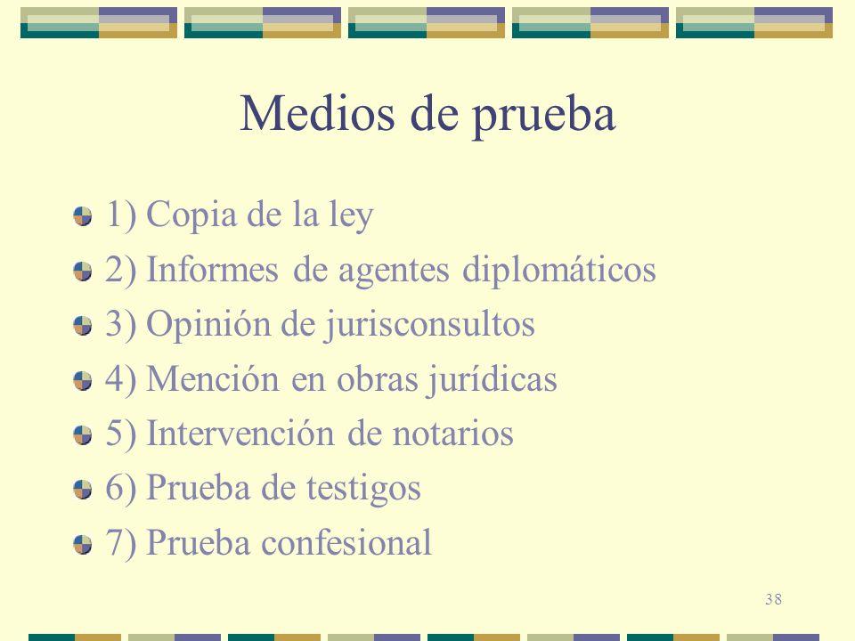 38 Medios de prueba 1) Copia de la ley 2) Informes de agentes diplomáticos 3) Opinión de jurisconsultos 4) Mención en obras jurídicas 5) Intervención