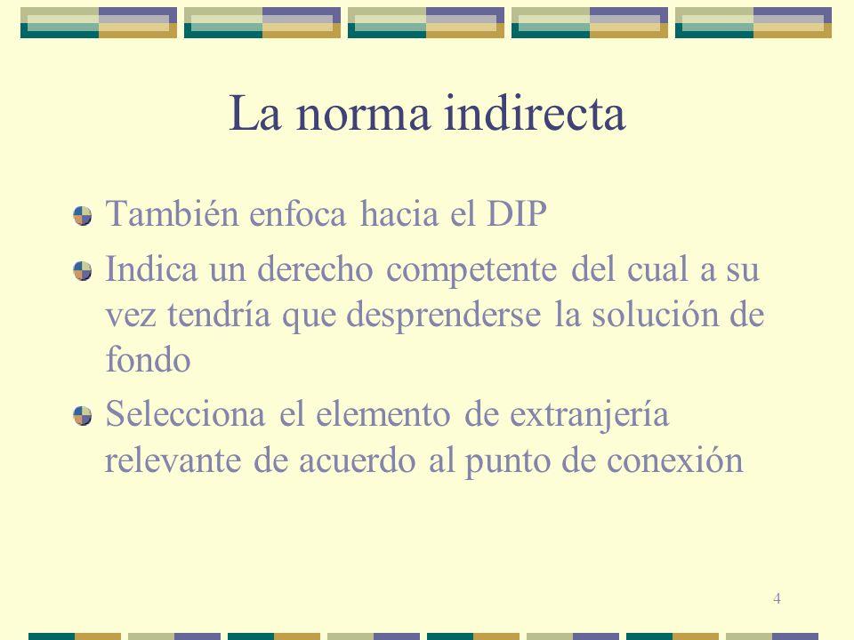 4 La norma indirecta También enfoca hacia el DIP Indica un derecho competente del cual a su vez tendría que desprenderse la solución de fondo Seleccio