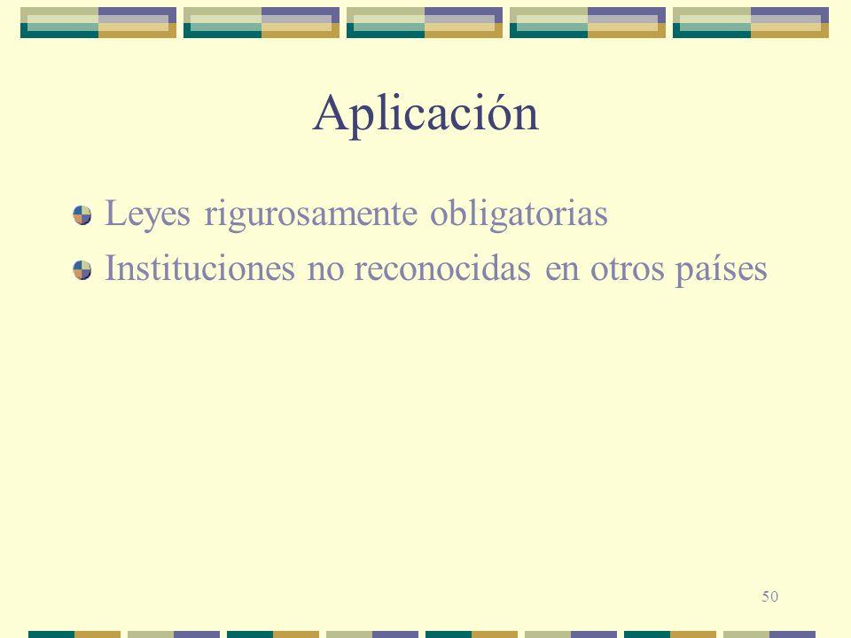 50 Aplicación Leyes rigurosamente obligatorias Instituciones no reconocidas en otros países