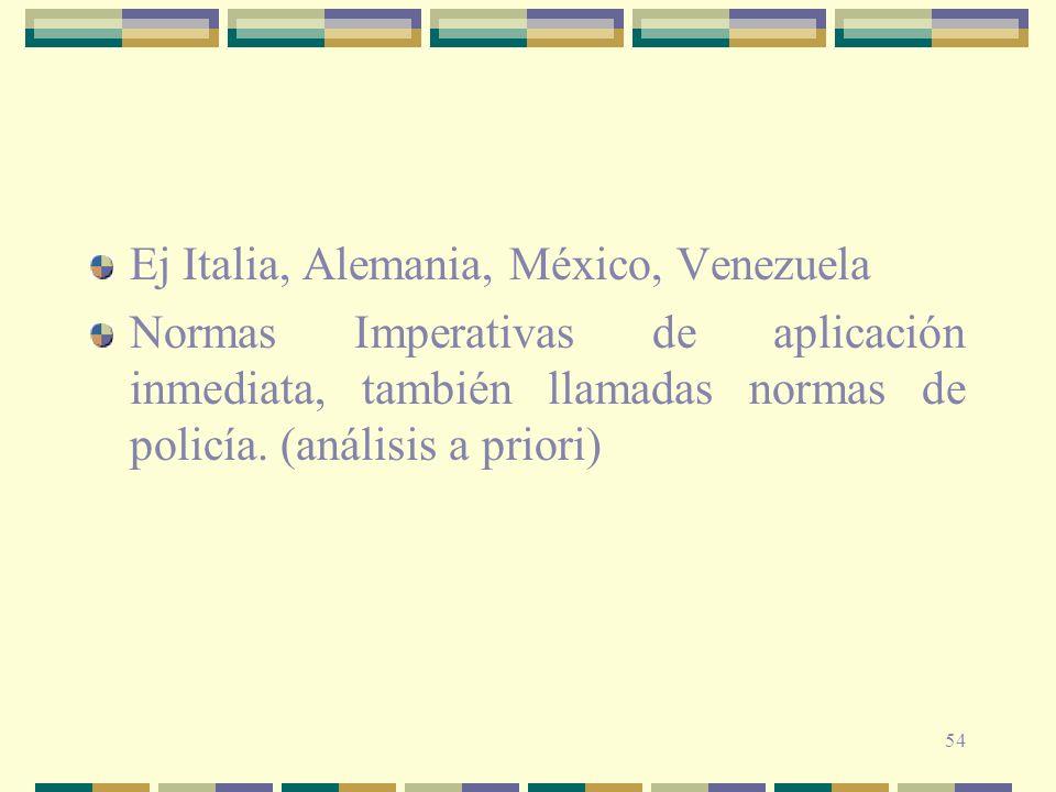 54 Ej Italia, Alemania, México, Venezuela Normas Imperativas de aplicación inmediata, también llamadas normas de policía. (análisis a priori)