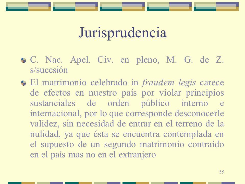 55 Jurisprudencia C. Nac. Apel. Civ. en pleno, M. G. de Z. s/sucesión El matrimonio celebrado in fraudem legis carece de efectos en nuestro país por v