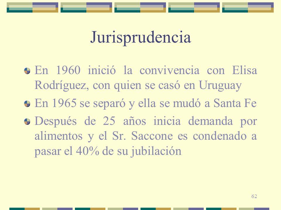 62 Jurisprudencia En 1960 inició la convivencia con Elisa Rodríguez, con quien se casó en Uruguay En 1965 se separó y ella se mudó a Santa Fe Después