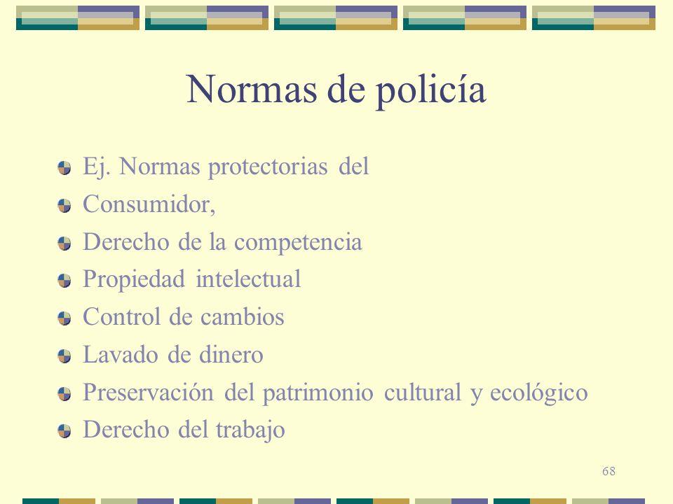 68 Normas de policía Ej. Normas protectorias del Consumidor, Derecho de la competencia Propiedad intelectual Control de cambios Lavado de dinero Prese