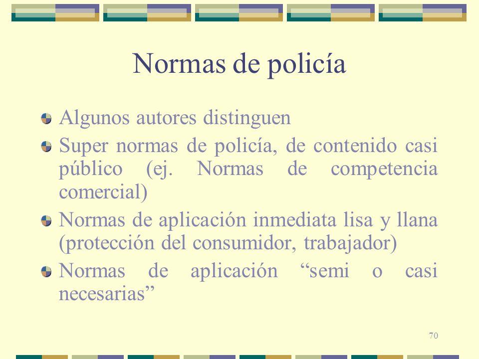 70 Normas de policía Algunos autores distinguen Super normas de policía, de contenido casi público (ej. Normas de competencia comercial) Normas de apl