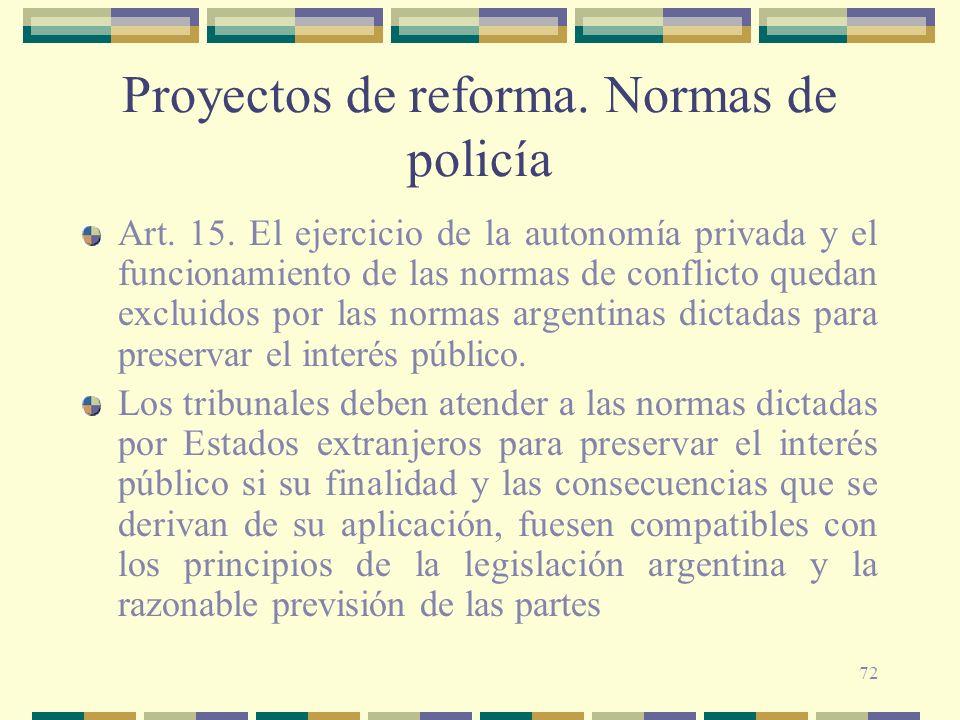 72 Proyectos de reforma. Normas de policía Art. 15. El ejercicio de la autonomía privada y el funcionamiento de las normas de conflicto quedan excluid