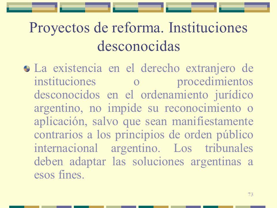 73 Proyectos de reforma. Instituciones desconocidas La existencia en el derecho extranjero de instituciones o procedimientos desconocidos en el ordena