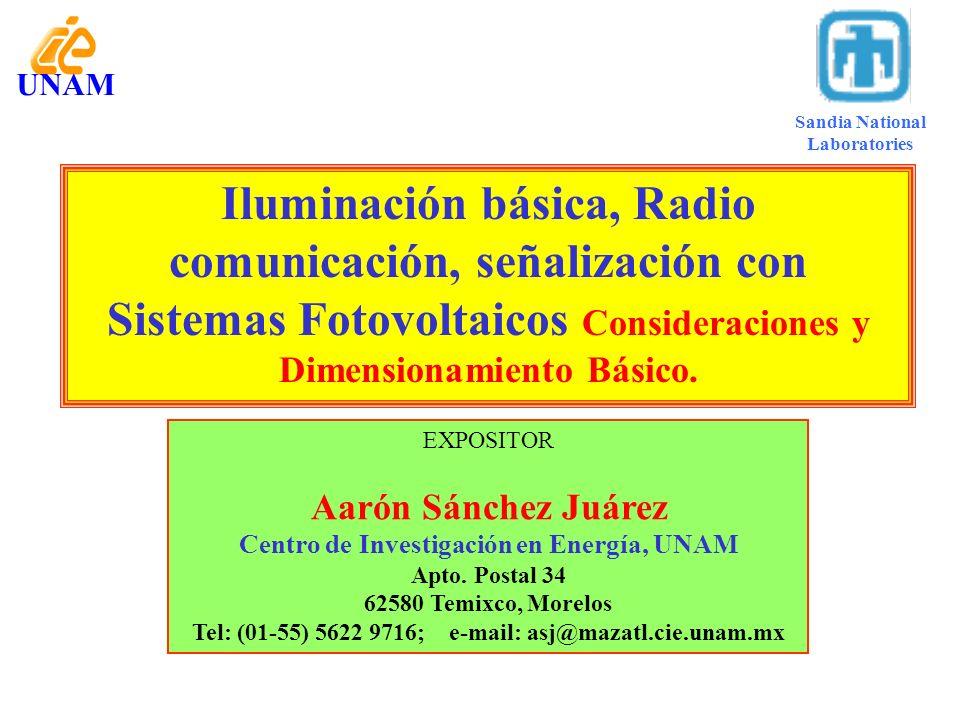UNAM Iluminación básica, Radio comunicación, señalización con Sistemas Fotovoltaicos Consideraciones y Dimensionamiento Básico. EXPOSITOR Aarón Sánche