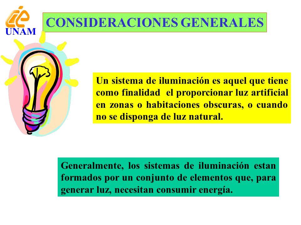 CONSIDERACIONES GENERALES Un sistema de iluminación es aquel que tiene como finalidad el proporcionar luz artificial en zonas o habitaciones obscuras,