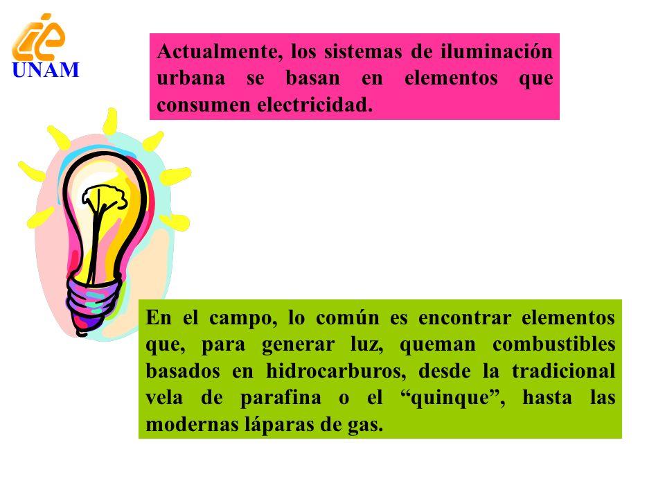 Actualmente, los sistemas de iluminación urbana se basan en elementos que consumen electricidad. UNAM En el campo, lo común es encontrar elementos que
