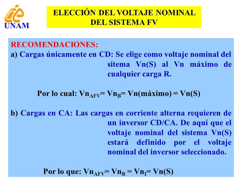 ELECCIÓN DEL VOLTAJE NOMINAL DEL SISTEMA FV RECOMENDACIONES: a) Cargas únicamente en CD: Se elige como voltaje nominal del sitema Vn(S) al Vn máximo d