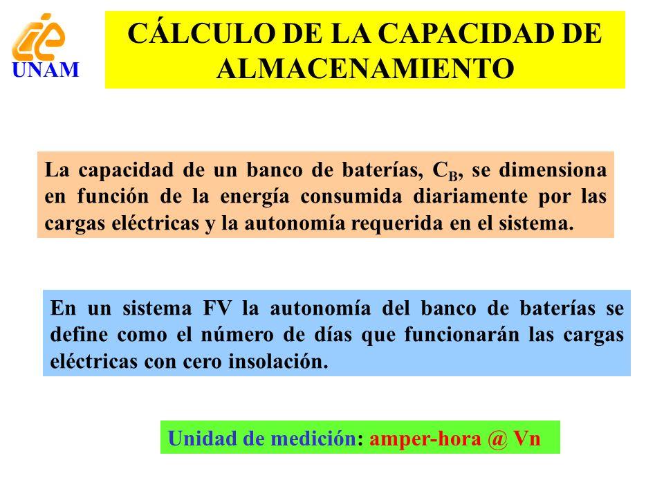 CÁLCULO DE LA CAPACIDAD DE ALMACENAMIENTO La capacidad de un banco de baterías, C B, se dimensiona en función de la energía consumida diariamente por