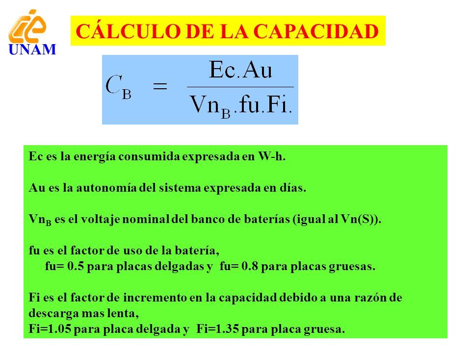CÁLCULO DE LA CAPACIDAD Ec es la energía consumida expresada en W-h. Au es la autonomía del sistema expresada en días. Vn B es el voltaje nominal del