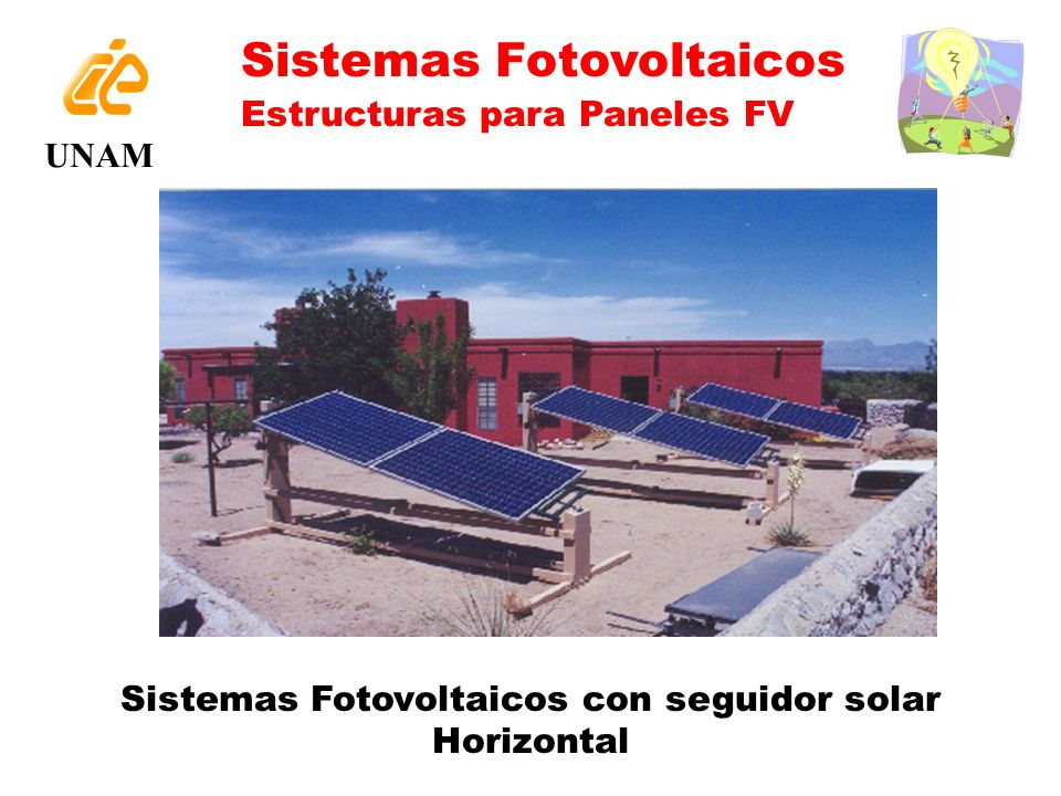 Sistemas Fotovoltaicos con seguidor solar Horizontal UNAM Sistemas Fotovoltaicos Estructuras para Paneles FV