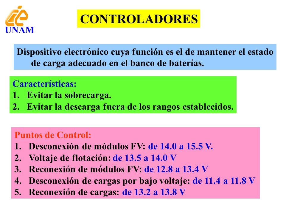 CONTROLADORES Dispositivo electrónico cuya función es el de mantener el estado de carga adecuado en el banco de baterías. Características: 1.Evitar la