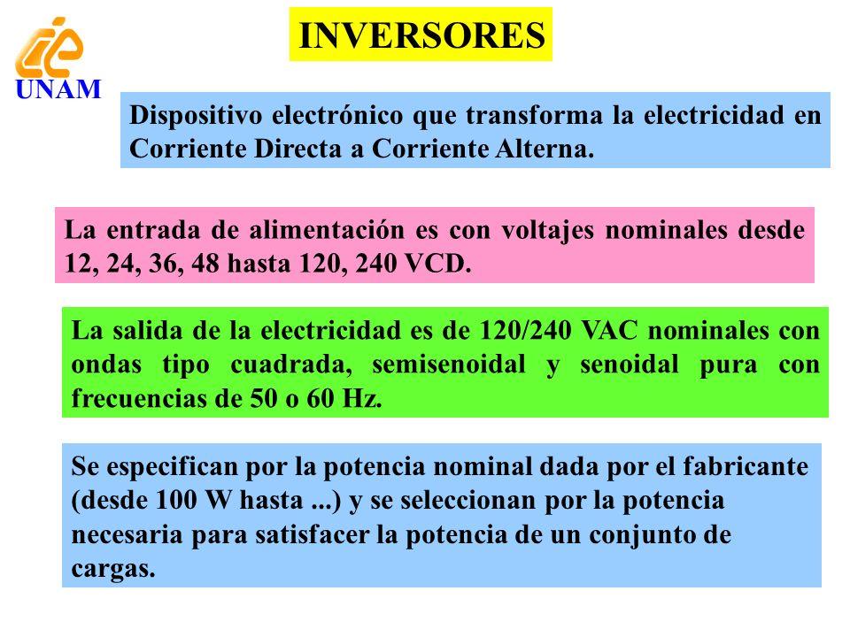 INVERSORES Dispositivo electrónico que transforma la electricidad en Corriente Directa a Corriente Alterna. La entrada de alimentación es con voltajes