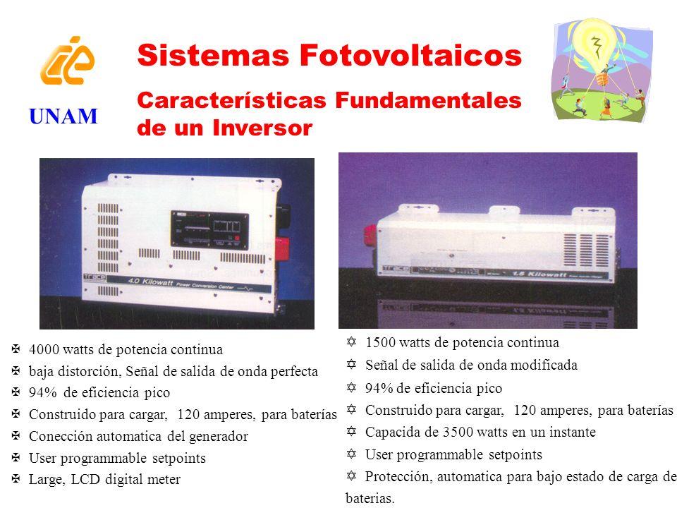 UNAM Sistemas Fotovoltaicos Características Fundamentales de un Inversor Y 1500 watts de potencia continua Y Señal de salida de onda modificada Y 94%