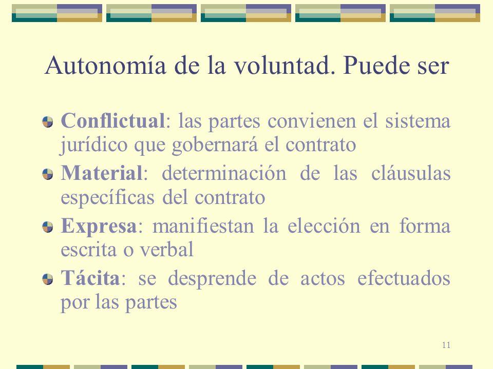 11 Autonomía de la voluntad. Puede ser Conflictual: las partes convienen el sistema jurídico que gobernará el contrato Material: determinación de las