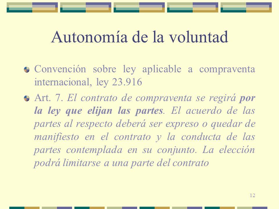 12 Autonomía de la voluntad Convención sobre ley aplicable a compraventa internacional, ley 23.916 Art. 7. El contrato de compraventa se regirá por la