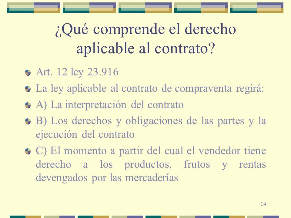 14 ¿Qué comprende el derecho aplicable al contrato? Art. 12 ley 23.916 La ley aplicable al contrato de compraventa regirá: A) La interpretación del co