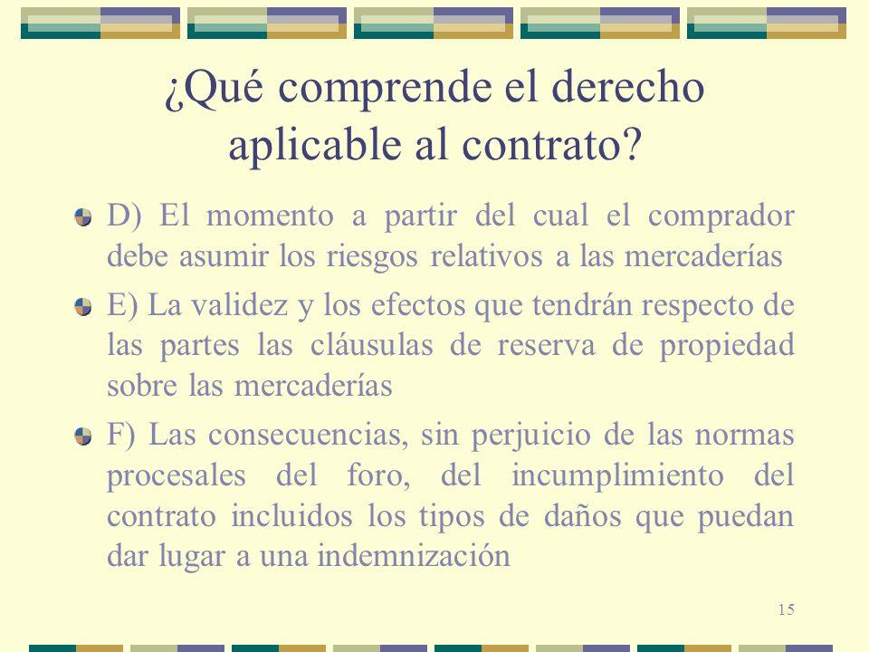 15 ¿Qué comprende el derecho aplicable al contrato? D) El momento a partir del cual el comprador debe asumir los riesgos relativos a las mercaderías E