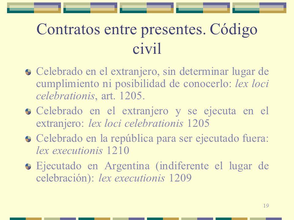19 Contratos entre presentes. Código civil Celebrado en el extranjero, sin determinar lugar de cumplimiento ni posibilidad de conocerlo: lex loci cele