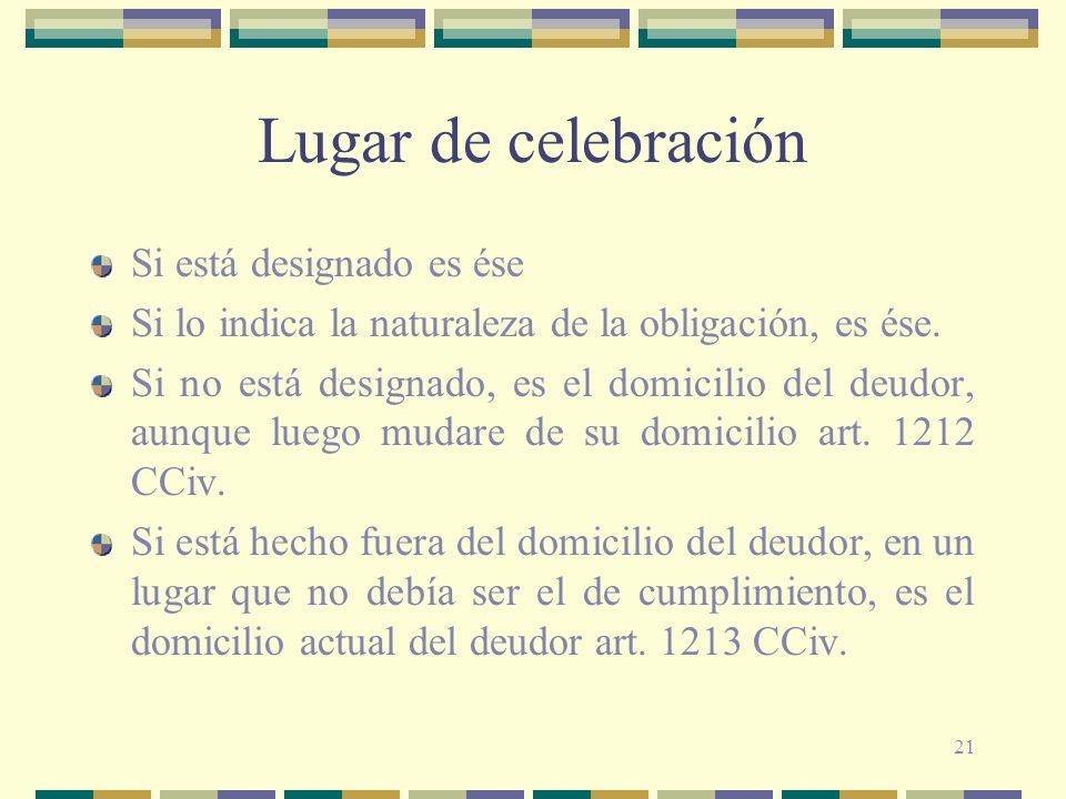 21 Lugar de celebración Si está designado es ése Si lo indica la naturaleza de la obligación, es ése. Si no está designado, es el domicilio del deudor