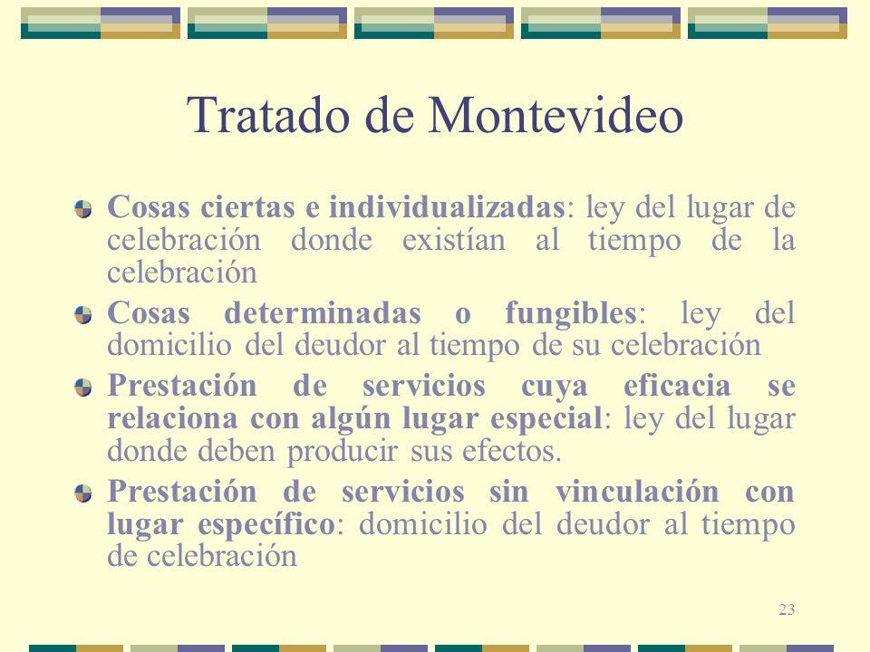 23 Tratado de Montevideo Cosas ciertas e individualizadas: ley del lugar de celebración donde existían al tiempo de la celebración Cosas determinadas