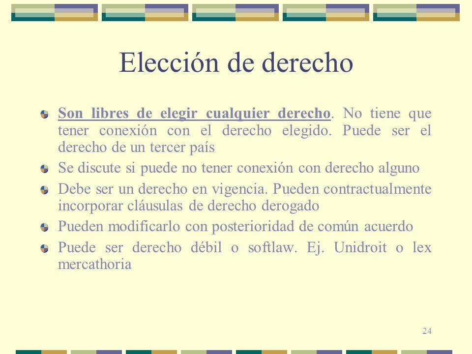 24 Elección de derecho Son libres de elegir cualquier derecho. No tiene que tener conexión con el derecho elegido. Puede ser el derecho de un tercer p