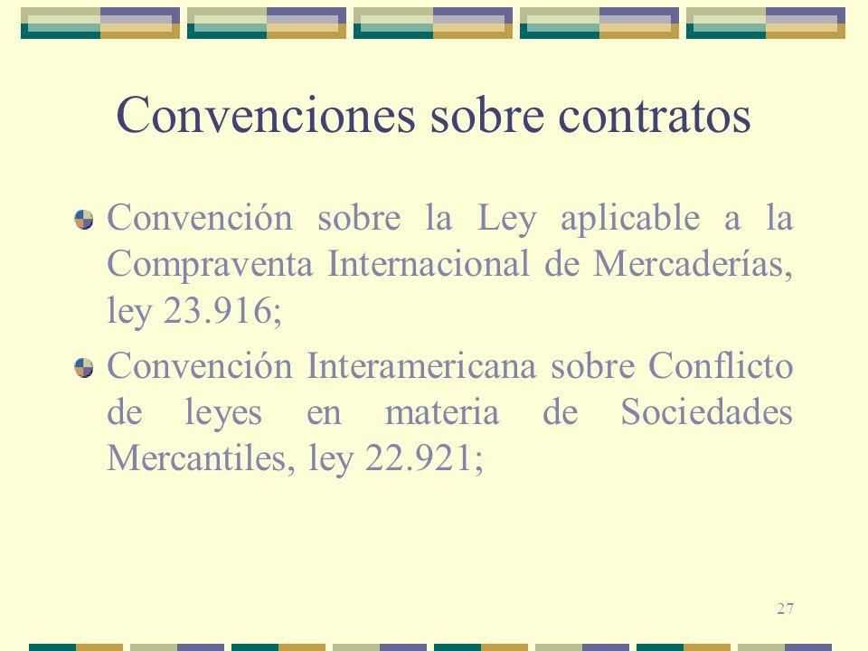 27 Convenciones sobre contratos Convención sobre la Ley aplicable a la Compraventa Internacional de Mercaderías, ley 23.916; Convención Interamericana
