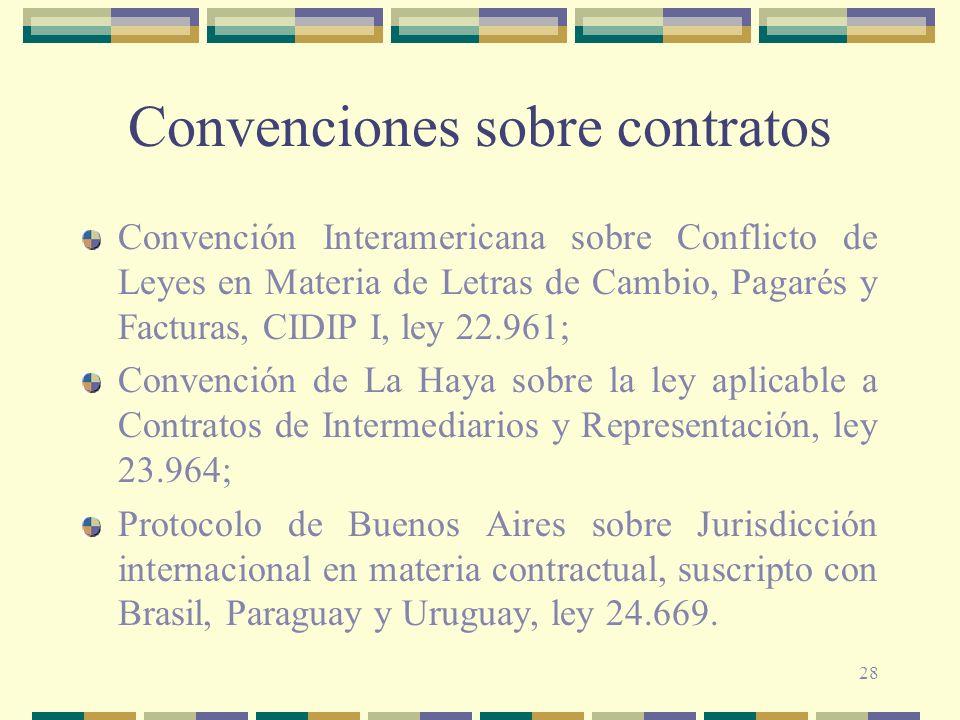 28 Convenciones sobre contratos Convención Interamericana sobre Conflicto de Leyes en Materia de Letras de Cambio, Pagarés y Facturas, CIDIP I, ley 22