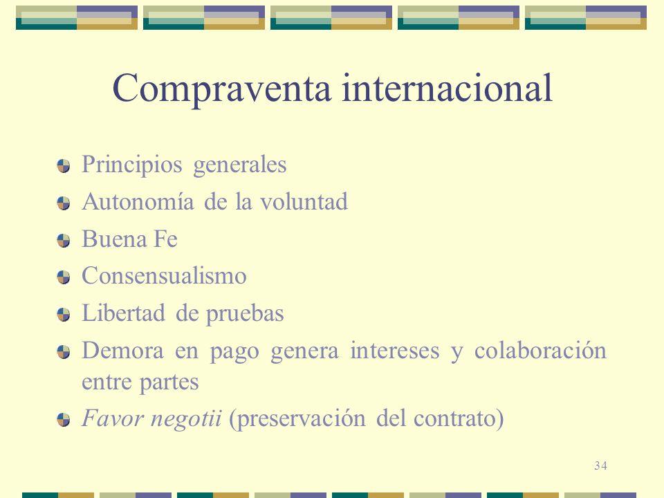 34 Compraventa internacional Principios generales Autonomía de la voluntad Buena Fe Consensualismo Libertad de pruebas Demora en pago genera intereses