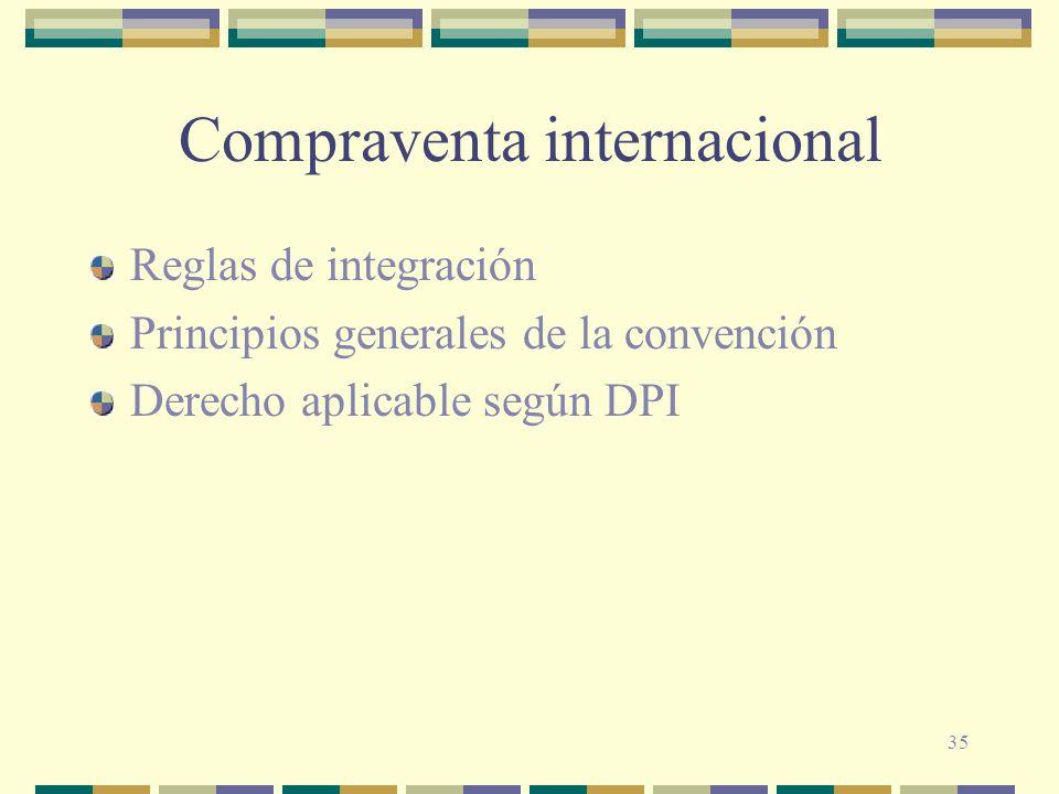 35 Compraventa internacional Reglas de integración Principios generales de la convención Derecho aplicable según DPI