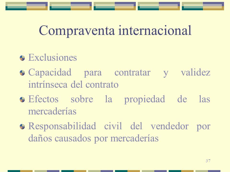 37 Compraventa internacional Exclusiones Capacidad para contratar y validez intrínseca del contrato Efectos sobre la propiedad de las mercaderías Resp