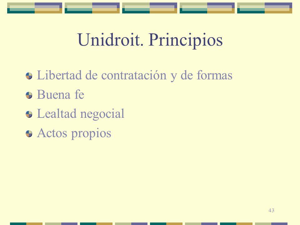 43 Unidroit. Principios Libertad de contratación y de formas Buena fe Lealtad negocial Actos propios