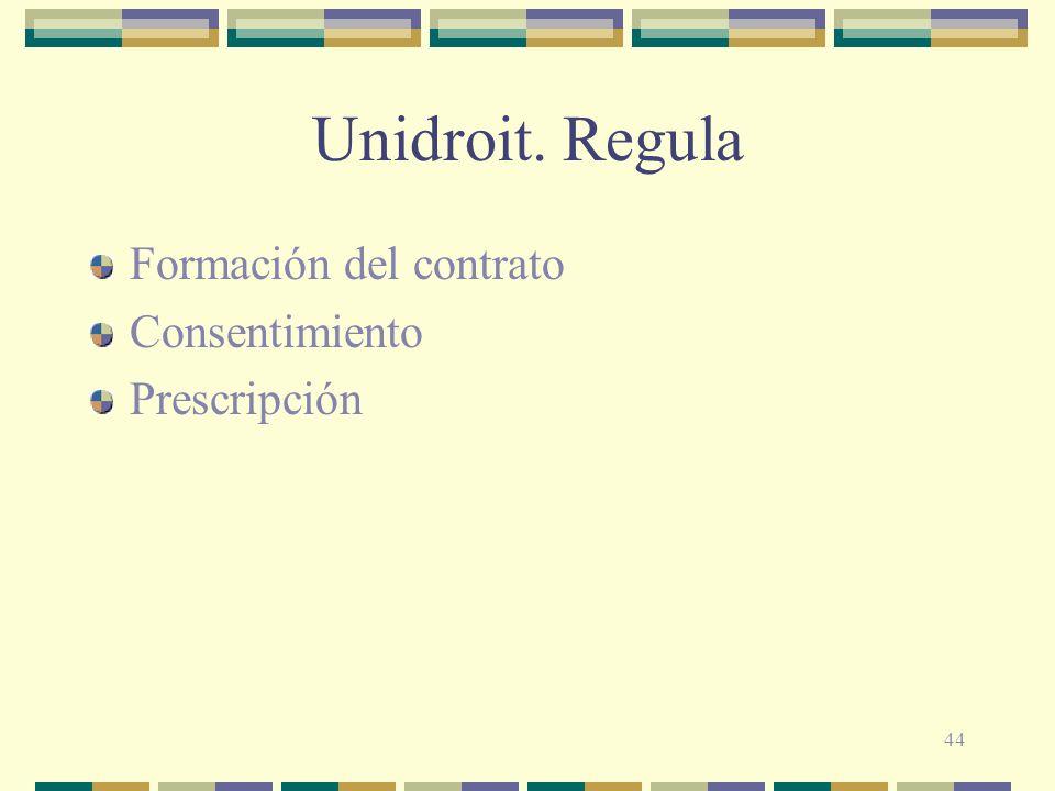 44 Unidroit. Regula Formación del contrato Consentimiento Prescripción