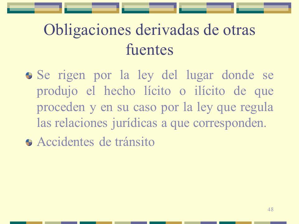 48 Obligaciones derivadas de otras fuentes Se rigen por la ley del lugar donde se produjo el hecho lícito o ilícito de que proceden y en su caso por l