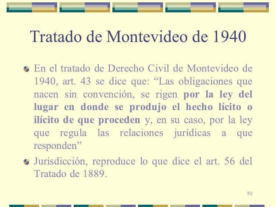 50 Tratado de Montevideo de 1940 En el tratado de Derecho Civil de Montevideo de 1940, art. 43 se dice que: Las obligaciones que nacen sin convención,