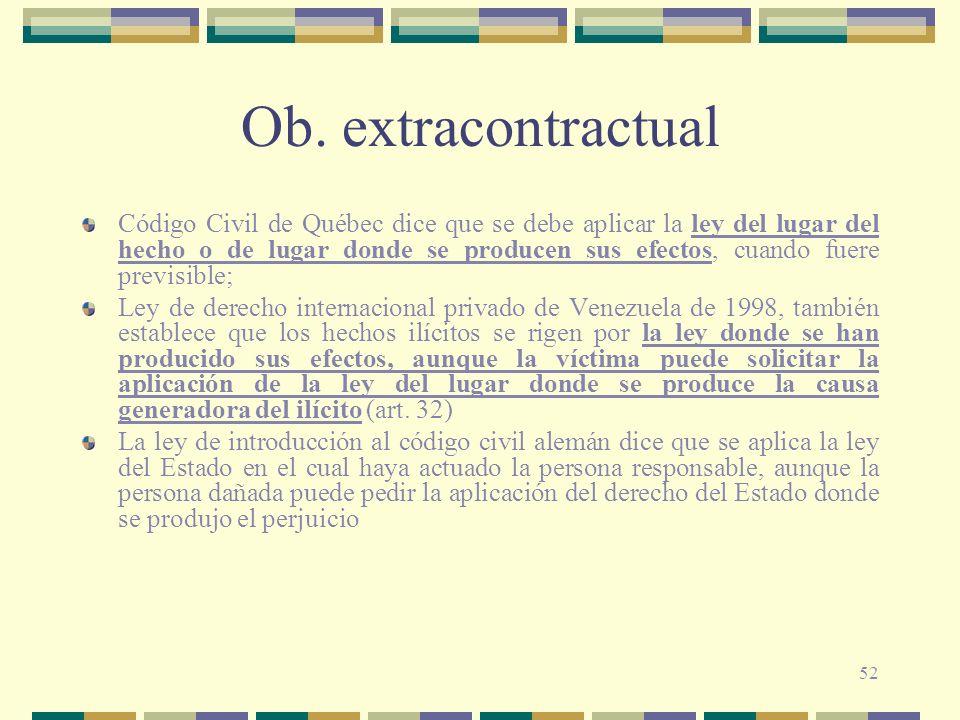 52 Ob. extracontractual Código Civil de Québec dice que se debe aplicar la ley del lugar del hecho o de lugar donde se producen sus efectos, cuando fu