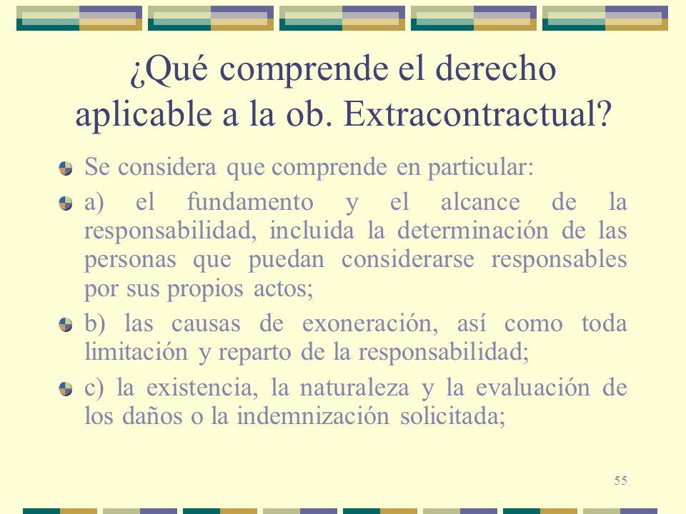 55 ¿Qué comprende el derecho aplicable a la ob. Extracontractual? Se considera que comprende en particular: a) el fundamento y el alcance de la respon