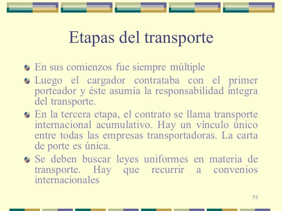 58 Etapas del transporte En sus comienzos fue siempre múltiple Luego el cargador contrataba con el primer porteador y éste asumía la responsabilidad í