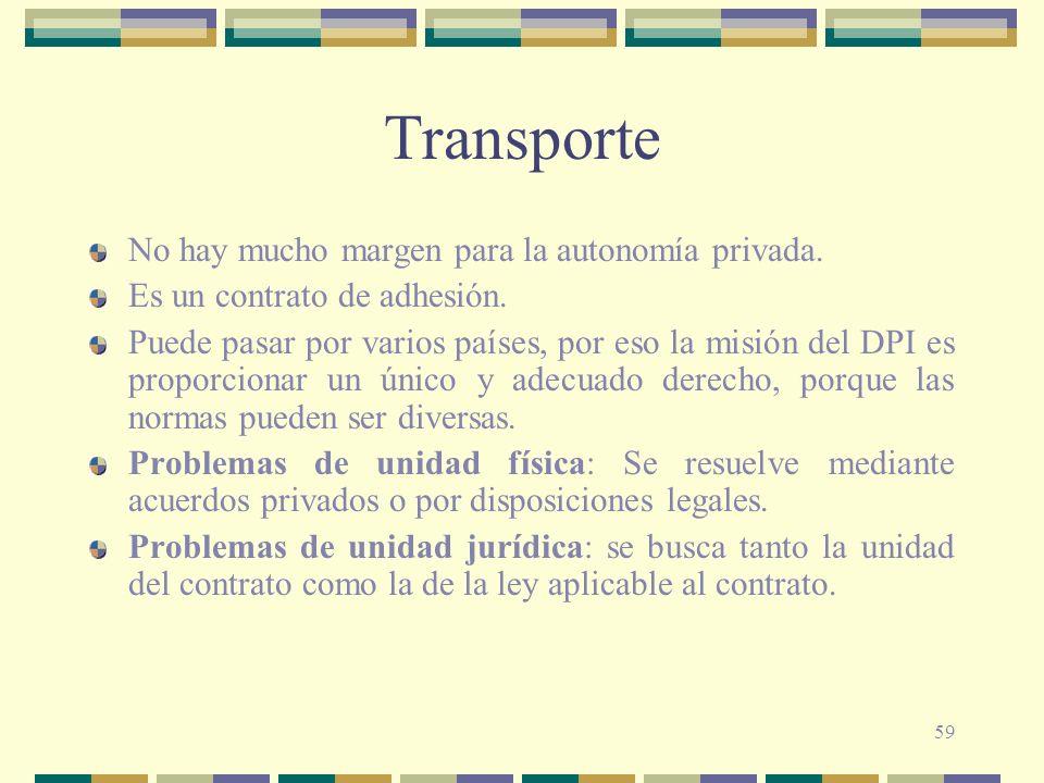 59 Transporte No hay mucho margen para la autonomía privada. Es un contrato de adhesión. Puede pasar por varios países, por eso la misión del DPI es p