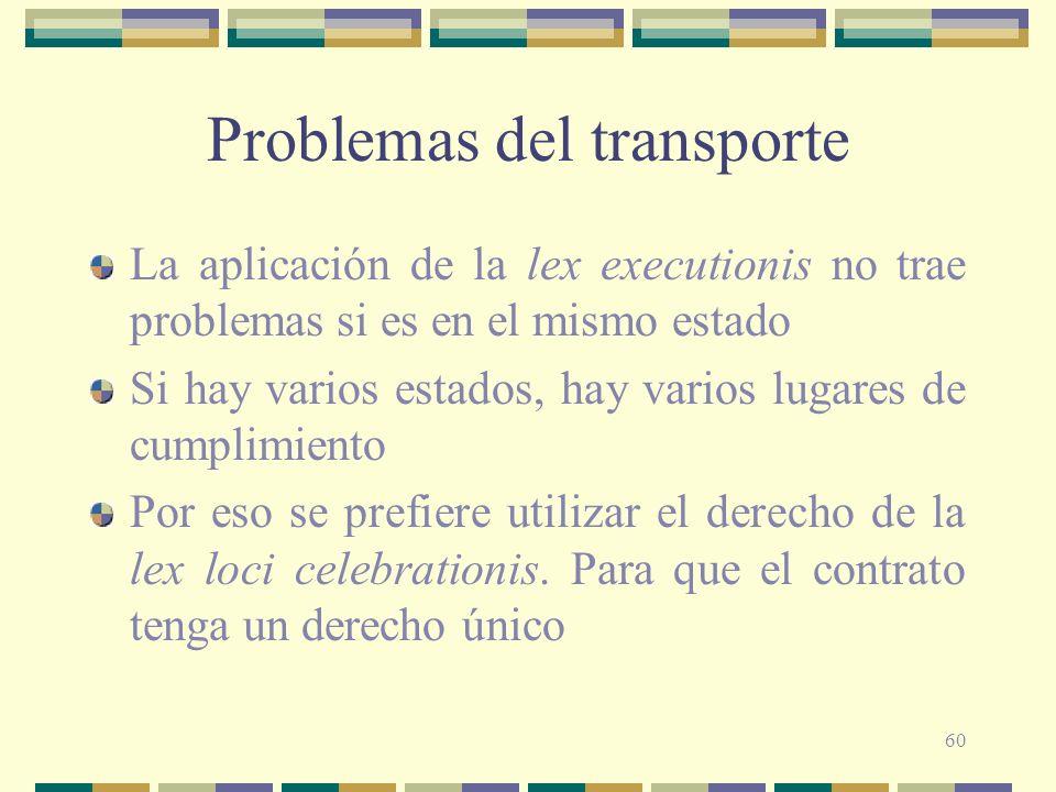 60 Problemas del transporte La aplicación de la lex executionis no trae problemas si es en el mismo estado Si hay varios estados, hay varios lugares d